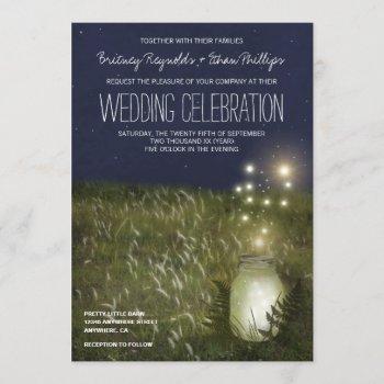 country mason jar + firefly wedding invitations