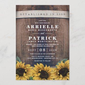 country rustic barrel vintage sunflower wedding invitation