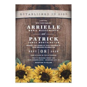country rustic barrel vintage sunflower wedding invitation