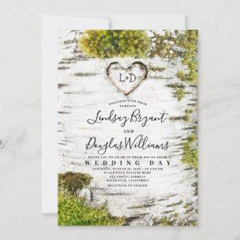 country rustic birch tree bark fall wedding invitation