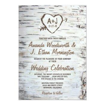 Small Country Rustic Birch Tree Bark Wedding Invitations Front View