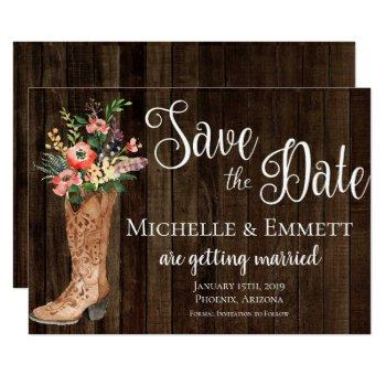 country rustic boot western save the date card