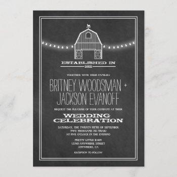 country rustic chalkboard barn wedding invitations