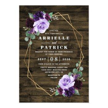Small Country Rustic Floral Purple And Gold Wedding Invitation Front View