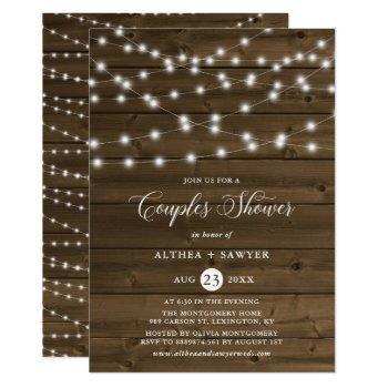 country rustic string lights couples shower invite