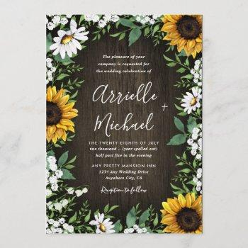 country rustic sunflower daisy wedding invitations
