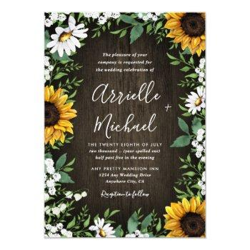 country rustic sunflower daisy wedding invitations