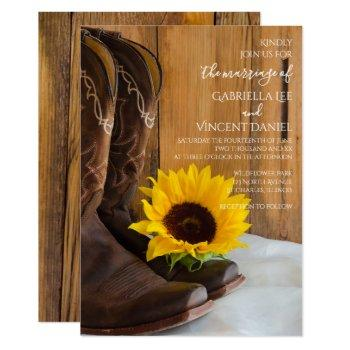 country sunflower western barn wedding invitation