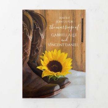country sunflower western barn wedding tri-fold invitation