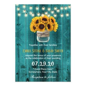 country sunflowers jar rustic teal barn wedding invitation