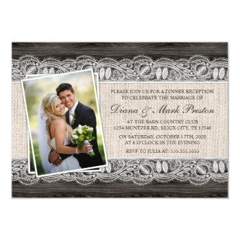 country western photo post wedding reception invitation