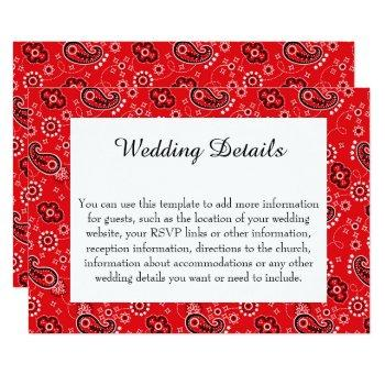 country western red paisley wedding invitation
