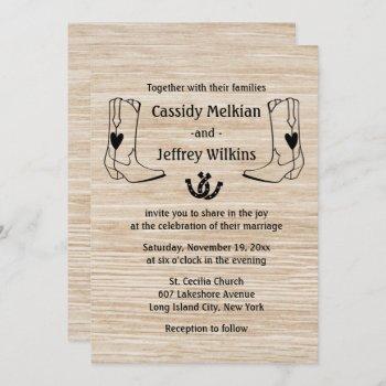 country western wedding cowboy boots rustic wood invitation
