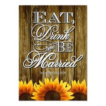 country western wood sunflower wedding invitations