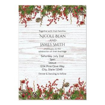 country winter holiday berries & pine cone wedding invitation