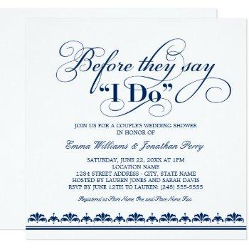 couple's wedding shower invitation | wedding vows
