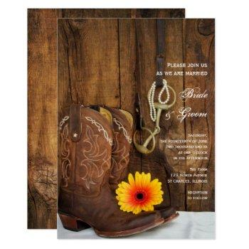 cowboy boots, daisy and horse bit western wedding invitation
