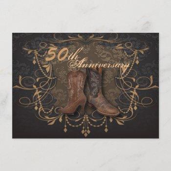 cowboy western country 50th wedding anniversary invitation