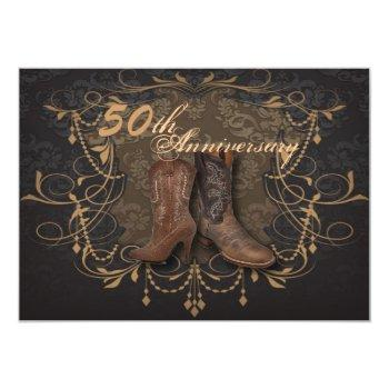 cowboy western country 50th wedding anniversary invitation