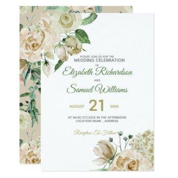 cream rose bud hydrangea watercolor classic invitation