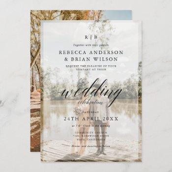 create your own 2 photo chic calligraphy wedding invitation