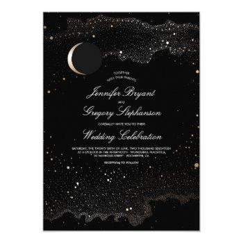 crescent moon and night stars modern wedding invitation
