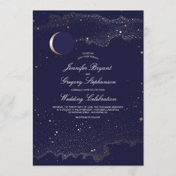 crescent moon and night stars navy wedding invitation