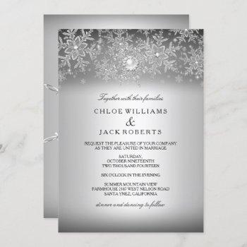 crystal pearl snowflake silver winter wedding invitation