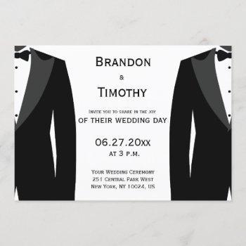 custom black and white gay wedding invitations