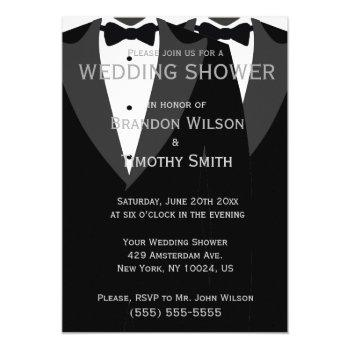 custom black and white gay wedding shower invites