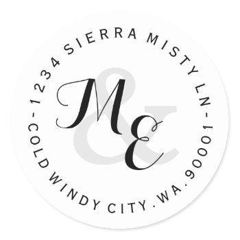 custom monograms circular return address label ii