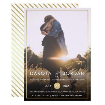 custom photo wedding | modern typography & gold invitation