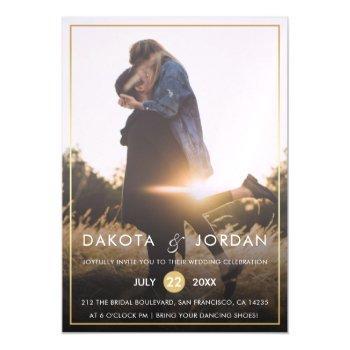 custom photo wedding | modern typography & gold magnetic invitation
