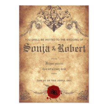 Small Customizable Medieval Fantasy Wedding Invitation Front View