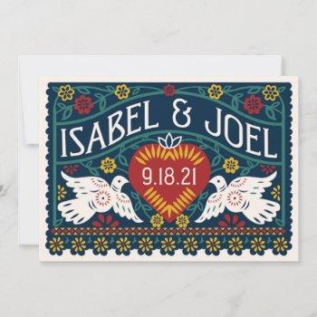 customized papel picado love birds invitation