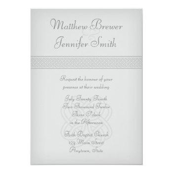 custon gray irish celtic knot wedding invitation