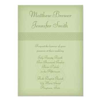 custon green irish celtic knot wedding invitation
