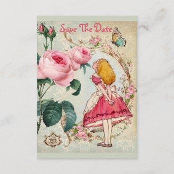 cute alice in wonderland wedding save the date invitation