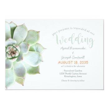 cute backyard succulent cactus wedding invitation