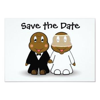 cute cartoon bride and groom save the date invitation