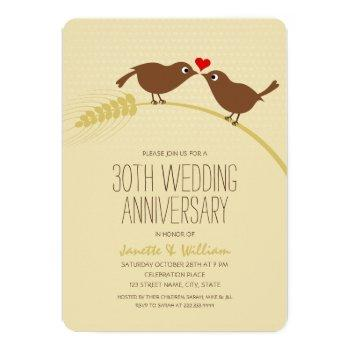 cute country love birds 30th wedding anniversary invitation