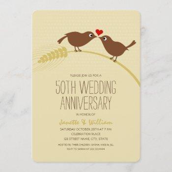 cute country love birds 50th wedding anniversary invitation