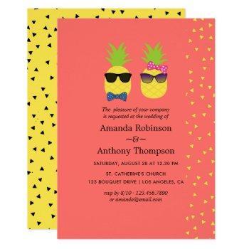 cute exotic tropical summer beach wedding invitation