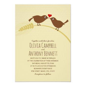 cute fall country unique wheat love birds wedding invitation
