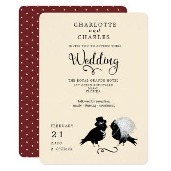 cute love birds bride and groom elegant invitation