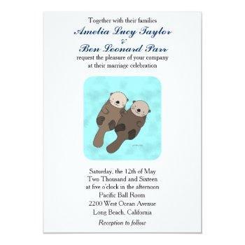 cute otter wedding invitation otter couple wedding