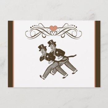 cute two grooms gay wedding invitation brown pink