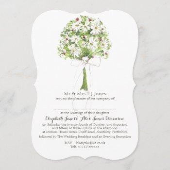 daisy bouquet white wedding invitation