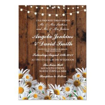 daisy wood wedding rustic floral light invitations