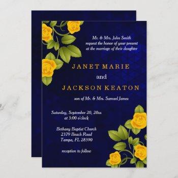 dark blue and marigold yellow rose wedding invitation